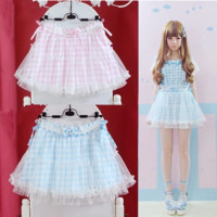 Japanese sweet bowknot gauze plaid skirt