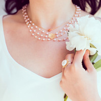 3 strands pearls necklace featuring cultured pearls and pastel pink Swarovski pearls