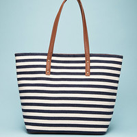 Striped Faux Leather-Trimmed Tote