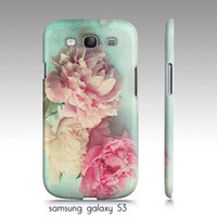 "iphone 4,4s, 5, Samsung Galaxy S3 case-""like yesterday"", pink peonies-aqua-flower photography"