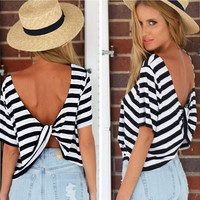 Stripe Twist-Back Short-Sleeve Asymmetrical Shirt