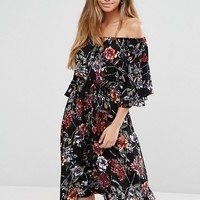Boohoo Bardot Flare Sleeve Floral Printed Midi Dress at asos.com