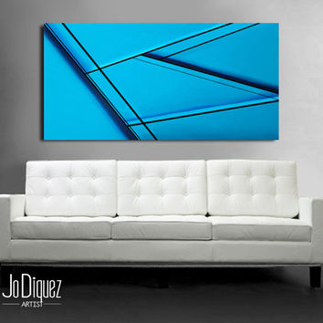 Original abstract painting on canvas. 24x48. Canvas art. Turquoise blue painting. Modern wall art. Large painting. Minimalist fine art.