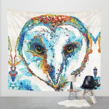 Colorful Barn Owl Art - Sharon Cummings Wall Tapestry by Sharon Cummings | Society6