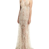 Jonathan Simkhai Collection Beaded Lace Sleeveless Open-Back Gown, Ivory