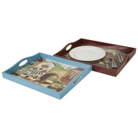 Wooden Serving Trays with Paris Painted Scenes (Set of 2)