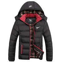 """NIKE"" Women Men Fashion Long Sleeve Cardigan Bread Down Coat Cotton-padded Clothes Jacket Black"