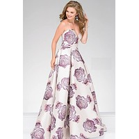 Pink Sweetheart Neck Floral Print Jovani Dress 48924