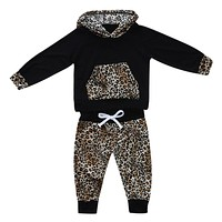 born Baby Girl Boy Clothes Set Leopard Print Hooded Coat Tops + Trousers Pants Sets For Children