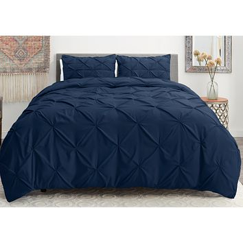 Pinch Pleated Soft 3 Piece Duvet Cover set