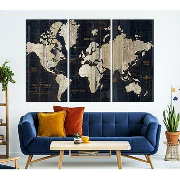 Antique Old World Map Large Wall Art Canvas Print