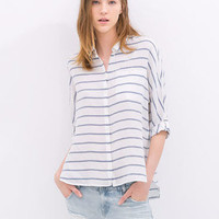 Light Blue Striped Shirt Collar Long Sleeve Blouse