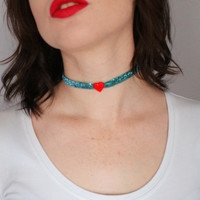 Turquoise Glitter Ribbon and Red Heart Choker Necklace