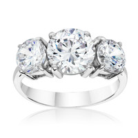 SusanB.Designs 4 Carat Simulated Diamond 3 Stone Ring Sterling Silver