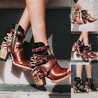 Ankle Boots Vintage Leather Casual High Heels Square Strap Zipper Peep Toe Shoes For Women Boots