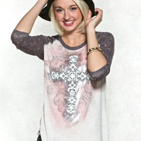 Cross Lace Graphic Tee