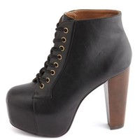 Lace-Up Wooden Heel Bootie by Charlotte Russe