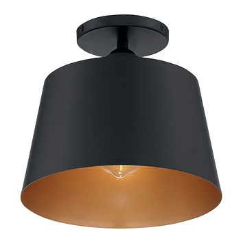 "10""W Motif 1-Light Close-to-Ceiling Black / Gold Accents"