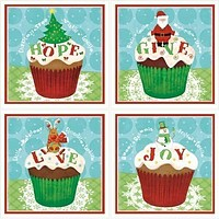 Christmas Cupcakes Coasters Set of 4