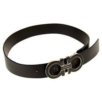 Salvatore Ferragamo Men's Double-Gancini-Buckle Belt Black Size 38 in. New Tagre™