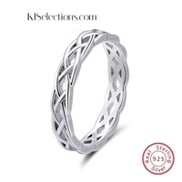 925 Sterling Silver Rings Unique Twisted Ring Wedding Band