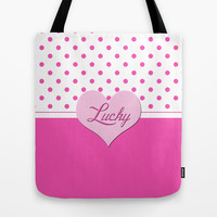 lovely, lucky, pink polka dots and pink heart graphic pattern. Tote Bag by PatternWorld
