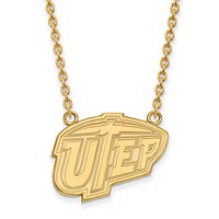 NCAA 14k Gold Plated Silver U of Texas at El Paso Lg Pendant Necklace