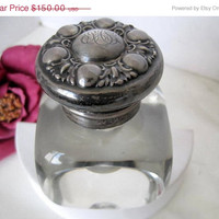 Sterling Inkwell Antique Heavy Leaded Glass Numbered