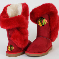 """Chicago Blackhawks Women's Cuce Official NHL """"Champions"""" Boots"""
