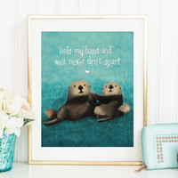 Sea Otters in Love Printable - Otters Holding Hands - Ocean Printable - Cute Printable Art