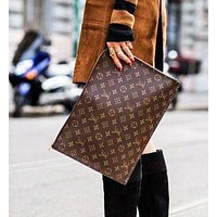 LV Louis Vuitton Selling Business Documents Handbags Fashionable Men and Women Briefcases LV pattern coffee