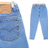 """Size 10 LONG -Levi's 550 High Waisted Mom Jeans - Vintage 90s Stone Washed Blue Denim Relaxed Fit Tapered Leg Women's Jeans - 30"""" Waist"""