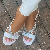 2020 new women's diamond handmade beaded flat sandals slippers shoes