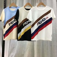 Fendi 2019 early spring new embroidered letter ribbon hit color wild round neck short-sleeved T-shirt