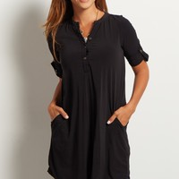 Black-Button-Front-3/4-Sleeve-Tunic