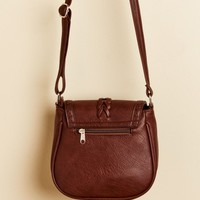 Dark Brown Faux Leather Crossbody Purse
