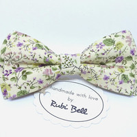 Yellow flower bow tie, cream wedding tie, mens floral neck wear, bow tie with purple flowers, bow ties for men, pocket square, wedding bows
