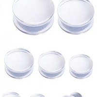 PAIR-Clear Acrylic Double Flare Plugs 03mm/8 Gauge Body Jewelry
