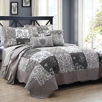5 Piece King Francine Taupe/Gray Quilt Set