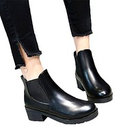 SLHJC Autumn Leather Boots Medium Heels Chunky Stacked Heel Ankle Boots Short Design Shoes Pumps 5 CM Heel Slip On Women Shoes