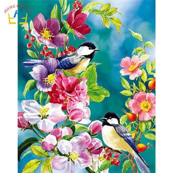 diy acrylic paints paintings coloring by numbers on canvas flowers bird wall art pictures for living room home decoration WYA415