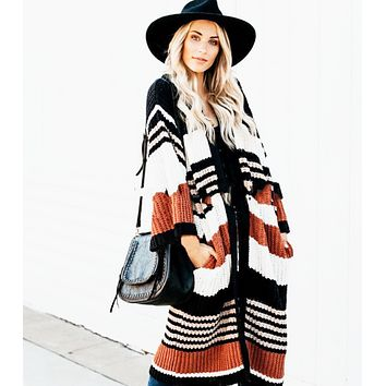 Autumn and winter new large size loose striped color matching cardigan women