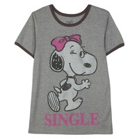 Snoopy Single Graphic Tee Heather Grey