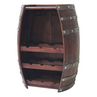 Wine Barrell 9 Bottle Wooden Wine Storage with Wine Glass Holder by Crestview Collection CVTFR1009