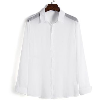 Men's Solid Transparent Long Sleeves Shirts