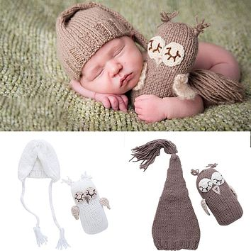 born Baby Girls Boys Photography Prop Photo Owl Hat Set Crochet Knit Outfits