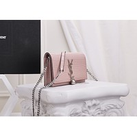 YSL SAINT LAURENT WOMEN'S CROCODILE LEATHER KATE TASSEL INCLINED SHOULDER BAG