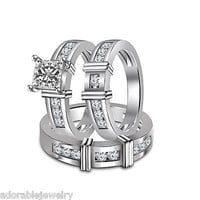 White Gold Over Sterling Princess & Round White Diamond His & Her Trio Ring Set
