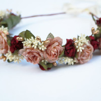 Blush Pink and Gold Flower Crown -  Holiday Fashion, Pink and Burgundy, Floral Crown, Holiday, Festive,  Winter Accessories, Christmas