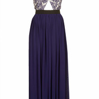 **Navy Printed Wrap Top Maxi Dress ...